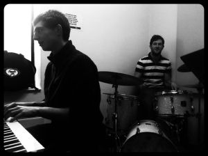 In rehearsal with the Quartet.  Dave Ferris on Piano, Ric Yarborough on Drums