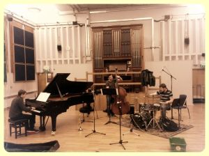 Soundchecking with the Quartet.  Dave Ferris Piano, Tom Baxter Bass, Ric Yarborough Drums